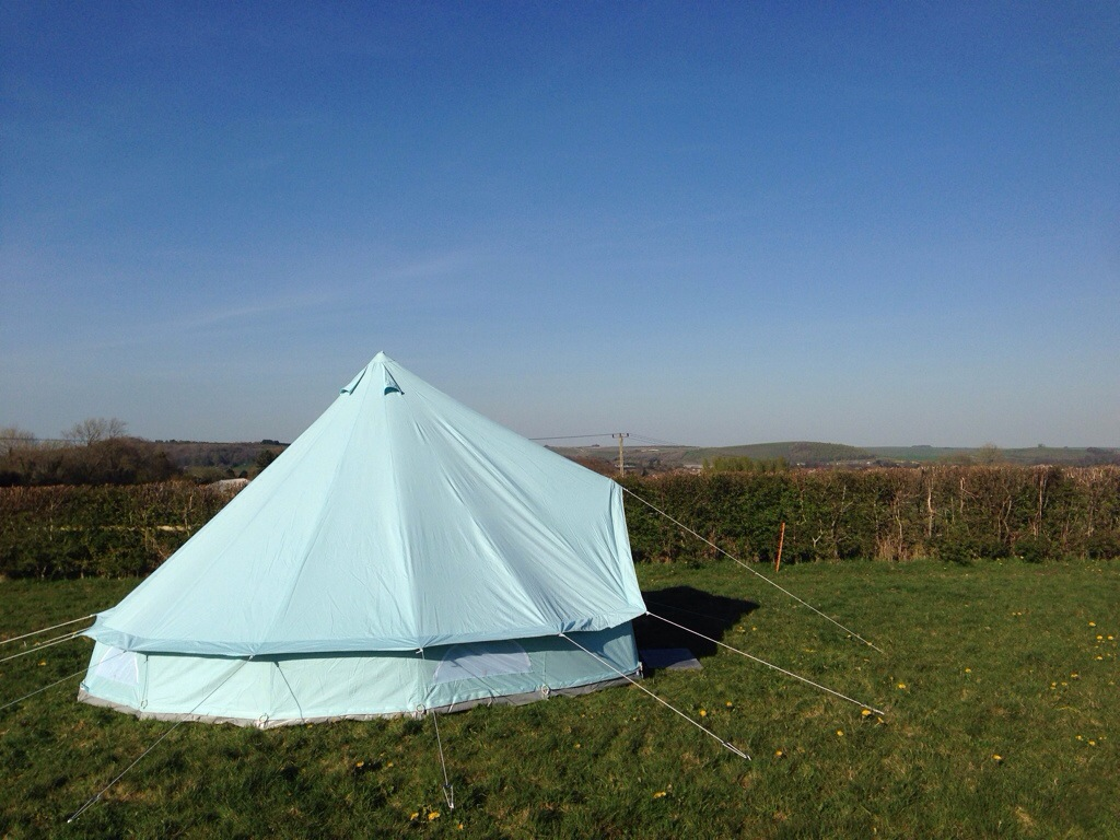 Sky blue 5m bell tent at Botany C&ing & Family | Botany Camping