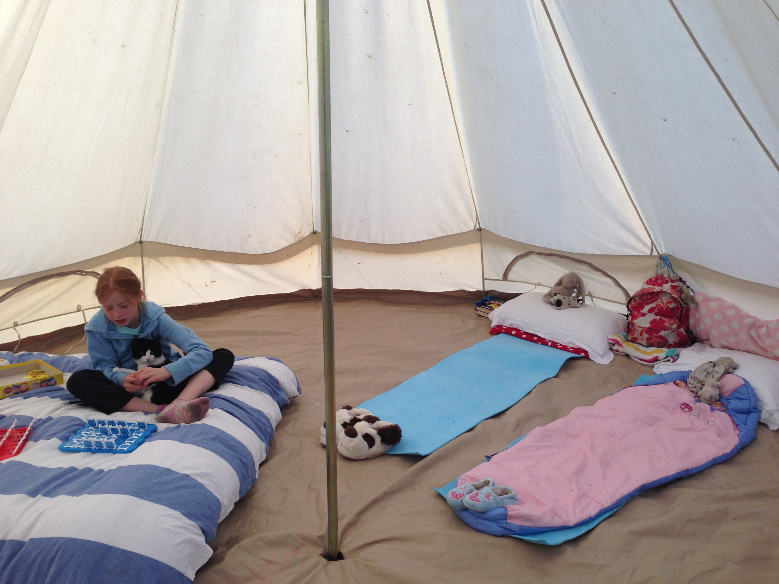 Double Bed and 2 single beds in bell tent & Family Camping trip at Botany camping and glamping near Longleat ...