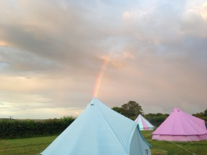 The rainbow chose the baby blue 5M bell tent at Botany Camping and glamping near Longleat