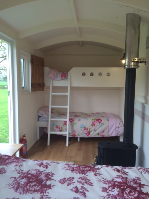 Shepherds hut  glamping with bunk beds and wood burner near Longleat
